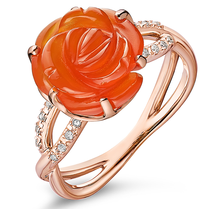 Guérin Rose en or rose diamants et agate rouge