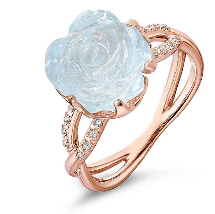 Guérin Rose or rose aigue-marine et diamants 750