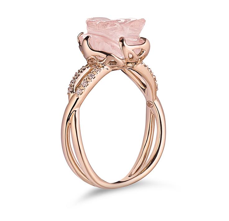 Guérin Rose or rose diamants et quartz rose 750