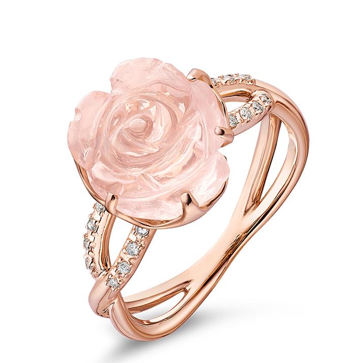 Guérin Rose or rose diamants et quartz rose 750J