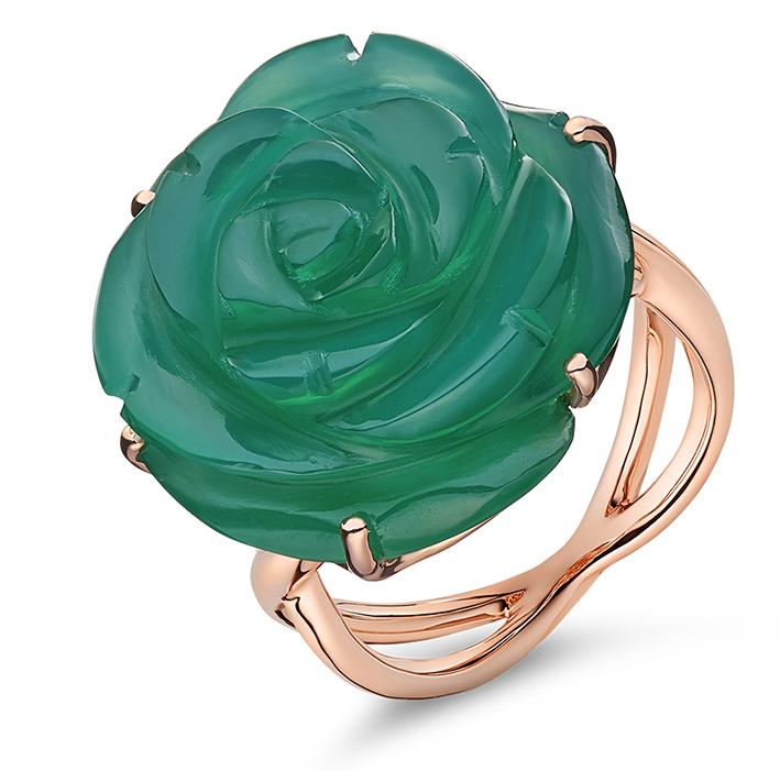 Guérin Rose or rose et agate verte 1300