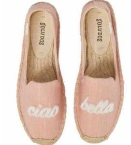 Soludos Frayed Edge Pompom Mules With Motto Ciao Bella, Available at Nordstrom