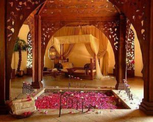 This bedroom decor requires gardening skills as well so you have a steady supply of flower petals for your in-ground bedroom pool