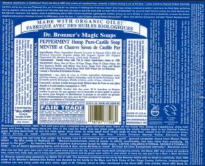 Although the labels have been changed since his death, they still feature much of Dr. Bronner's iconic commentary. Label from Dr. Bronner's Magic Soap, Peppermint.