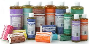 Dr. Bronner products in a variety of scents, bottle sizes, and bar soaps...generally, the liquid soap in bottles is best for multi-purpose use.