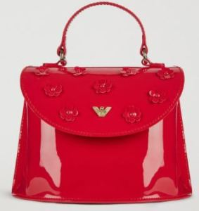 Girl's Handbag with Flowers in a stunning coral patent leather. Also available in white. Armani.com.