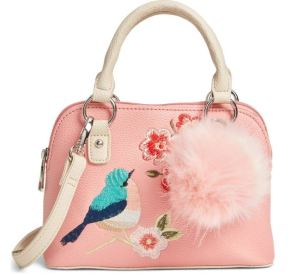 Hannah Banana handbag includes shoulder strap & pompom. Gorgeous nature themed embroidery on a practical shape means distinctive beauty and versatility. Nordstrom.com.