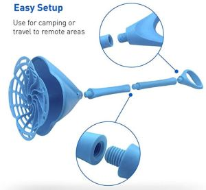 The EasyGo Hand Powered Washing Wand device is a fancier variant of the plunger concept. It has high reviews on Amazon.