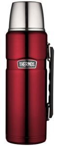Thermos Stainless King 40-oz insulated bottle includes a cup lid, interior sealing lid with pouring feature, and carrying handle.