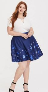 Disney works its sparkly magic on a pretty skater skirt with a starlit Lilo & Stitch design. The length falls between mini and midi, so you can throw on bike shorts underneath for coverage while getting on and off theme park and carnival rides. Torrid.com.