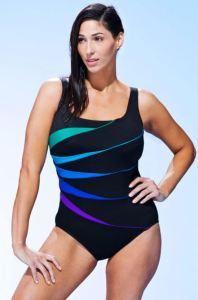 The practical design of the Longitude Fan Tank Swimsuit is jazzed up with a dynamic graphic. The fabric is chlorine resistant. swimsuitsforall.com.