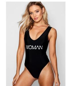 You won't need to spell it out in this great basic one piece from boohoo.com, but the slogan graphic is both trendy and cool.