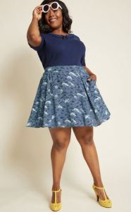 Generate turbulence in the Stay Sassy Skater Skirt in Waves. The hip design gives a nod to iconic Japanese art themes. Modcloth.com.
