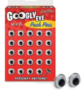 Does Spiderman actually have Spidey-Vision? Well, you can, all over your bulletin board, with this box of 25 Googly Eye Push Pins. Position them to focus upon notes of particular upcoming importance, like an exam deadline. Or, use them to deter dorm-mate frig thefts by pushing pairs of accusatory eyes into your bananas and candy bars. Mcphee.com.