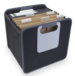 """Hanging files are just about the quickest, easiest way to sort and stash papers. Levenger's Office Foldable Storage Box knocks down for storage. Open, it features two mesh pockets, a large, whiteboard style labeling area and, even better, smooth side rails to support hanging files. It also has nice, large handles for easy carrying. And of course, you could use this for storing other things besides files and binders. An old-school tip: the area beneath hanging files makes a great secret stash spot. Just cover your stash with something innocuous, like a few """"spare"""" folders. Sure, it's not super-secure, but it's a place few people ever think to look."""