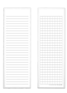 Also useful are these Levenger Ruled and Grid Bookmark Cards in a set of 100. One side is lined for written notes, while the other features a grid pattern useful for math, engineering, and other sketching notes. These bookmark sized cards are great because you can easily carry a bunch in your pocket or bag for taking notes anywhere.