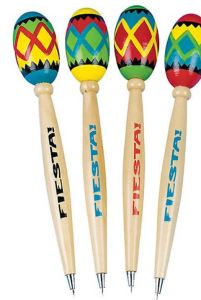 Make homework sessions a fiesta with the Oriental Trading Fiesta Maraca Pens. You get a dozen in assorted festive colors. Not just for writing, the maracas provide an outlet for relieving study frustration. Take a shake break, then back to work! Also useful for music percussion and rhythm studies. Borrow them from the kids when you have a party.
