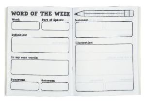 Oriental Trading's Word of the Week Journal has well considered prompt fields for developing vocabulary. Comes in a set of 12.