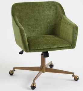 The Warm Green Mid Century Zarek Office Chair is another nice option for those who want a chair with side support and armrests. It looks soft and comfy but still modern and streamlined, and it features metal casters. Worldmarket.com.
