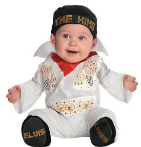 Elvis left the building-or this mortal coil-but he's back, as Baby Elvis Presley. At this age his crooning might not be so soothing, but just give him time. orientaltrading.com.