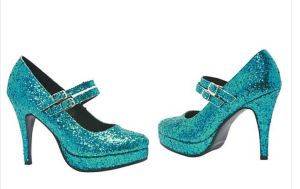 "Disney branded Blue Glitter Alice Shoes feature an awesome color that coordinates with lots of costumes and is otherwise difficult to find in footwear. 4"" heels with a front platform strap in adult women's sizes. orientaltrading.com."