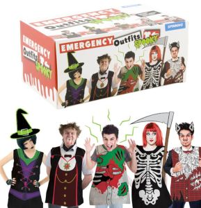 Punish annoying guests who show up at your Costume party in their regular clothes. Make them wear one of the five plastic costumes contained in this handy, dandy, boxed set of Emergency Spooky Outfits. Available at stupid.com.