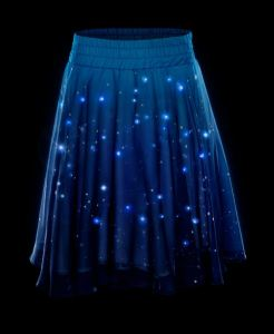 Your costume is The Universe in this Twinkling Star Light-Up Skirt. The clever, washable design has a removable webbing of 250 LED lights that snap into place then are covered with a liner for comfort. The tiny battery pack fits easily into a teensy waistband pocket. Press the battery pack button to select one of six different light patterns! Great for dancing at the Midnight Hour. thinkgeek.com.