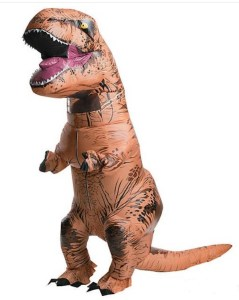 Stage an epic battle against your Godzilla-attired bud wearing your own inflatable saurian. Inflatable Jurassic World T-Rex Costume is fitted with a battery-operated fan to keep those stumpy arms extended to their maximum potential. orientaltrading.com.