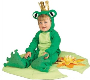 Social Media worthy Baby Lil' Frog Prince Costume includes a separate, croaking (via sound chip) lily pad play mat. The froggy feet have a non-skid finish to help stabilize play-acting tots. Tons of photo and video presence along with great play value after Halloween. And yet another great reason for a sibling (or Mom) to dress up like a Princess. orientaltrading.com.
