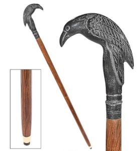 Poe's Mystic Raven Solid Hardwood Walking Stick features a sculptural raven shaped cast metal handle. A boss costume prop, but not meant for real weight-bearing support, so keep that in mind. designtoscano.com.