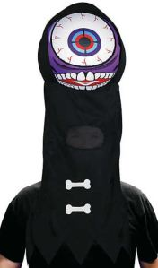 There is so much that can be said about this Purple Giant Eyeball Headpiece, but I'm not going to be the one to say it....With a cloth covered frame and inflatable head, there will be gatherings that simply scream for this. orientaltrading.com.