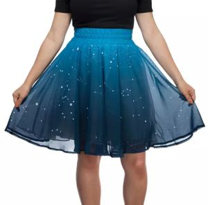The pretty Twinkling Star Skirt in normal light shows a charming Constellations design. You can wear it this way without the light set-up affixed. thinkgeek.com.