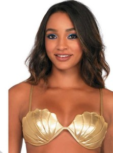 What ShoppingGirl cannot find multi uses for the Women's Gold Mermaid Shell Bra? How about painting yourself green and wearing it under your Star Fleet Academy Varsity Jacket, for starters? orientaltrading.com.
