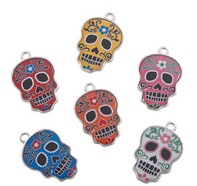 Another cute Day of the Dead handout, these Metal Day Of The Dead Enamel Charms will add a bright pop of color to any ShoppingGirl's charm bracelet. Set of 36 is $8.99 at orientaltrading.com.