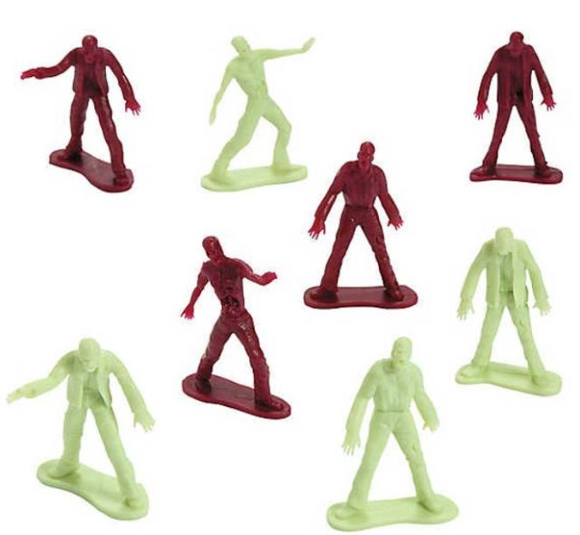 Trick or Treaters can put their little green plastic army personnel to the test when you hand out some Zombie Toy Men. orientaltrading.com.