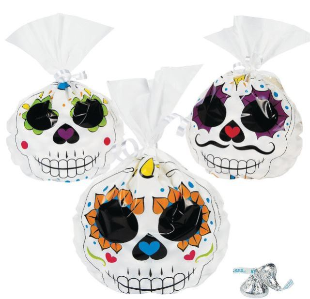 If you are one of the cool people who hand out entire goodie bags, check out these colorful Day of the Dead Cellophane Bags, which form a roundish shape once filled. Sold in packs of 12 at orientaltrading.com.