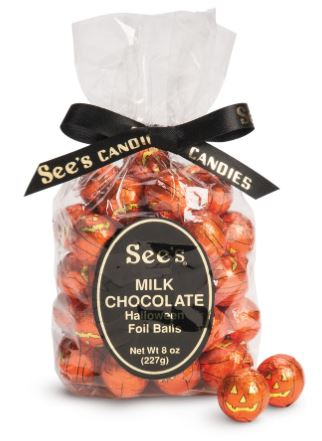 Shopping Girls who want fine quality chocolate candy for treat bags can rely on See's. Milk Chocolate Balls feature foil jack-o'-lantern faces. 30 per bag. seescandies.com