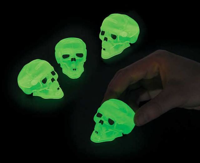 Not to encourage gambling...but competing for prime pieces of Halloween candy takes place in good fun with these Skull Pullback Racers. They glow in the dark, of course. orientaltrading.com.