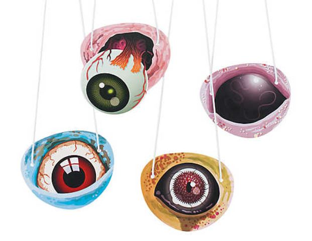 Look, every kid already has a pirate eyepatch in their dress-up kit. Try handing out these Paper And String Zombie Eyepatches instead. Affordable at $5.99 for a set of 48 eye patches, you could give matching pairs to each Trick-or-Treater for fun year-round play. You could also use them to decorate your haunted house or yard, or as fashionable accessories at your party or carnival photo booth. orientaltrading.com. Note: You can't see through these (unless you cut your own peep-hole), so they aren't for kids to wear while wandering the streets at night.