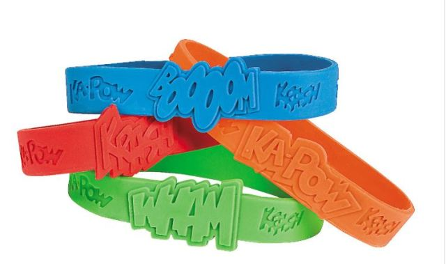 The Superhero Boys Sayings Rubber Bracelets have the same graphic designs as the Superhero Girls set, but come in different colors. Either version comes in a set of 24 for $6.99 at orientaltrading.com.