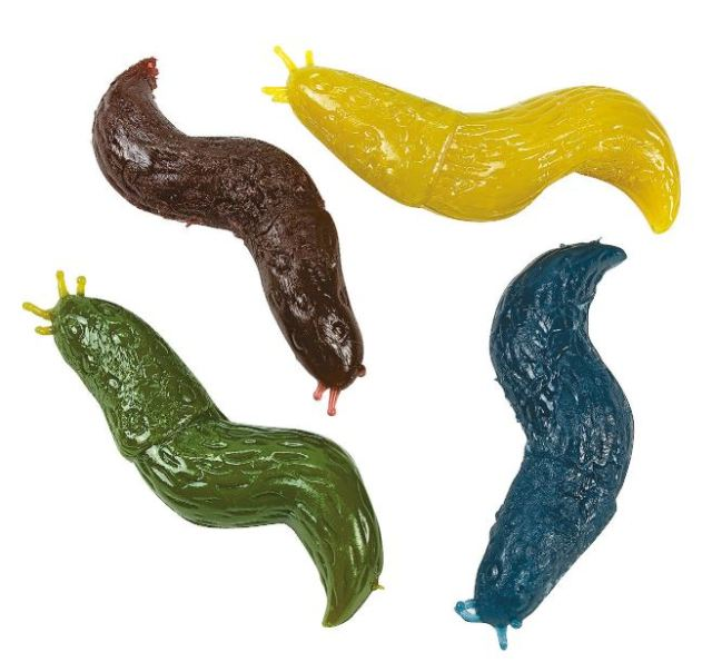 Perplexingly scoring high ratings, these Sticky Slugs are large, realistic, stretchy, and popular. Some Trick or Treaters will love these, others will at least find them valued trading pieces for something less icky. You can get a dozen for under $4.00. If you really want to. orientaltrading.com.