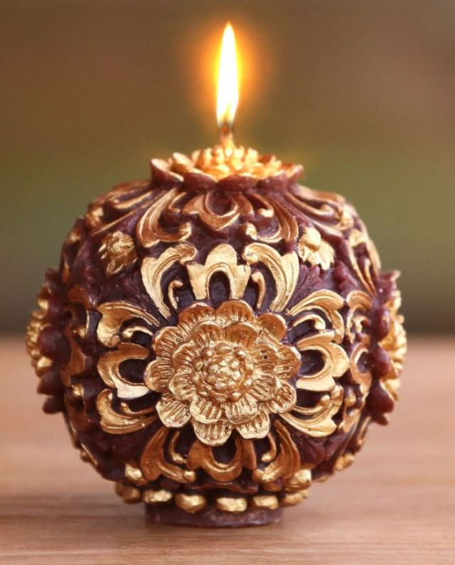 Highly detailed, gleaming Floral Candle Orb hand-made by Satnam Sarna in Bali. Available from National Geographic's fair-trade online store. novica.com