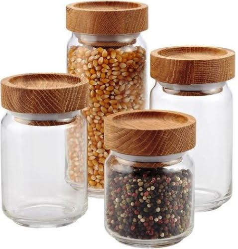 Artisan Glass Canisters with Oak Lids at Containerstore.com