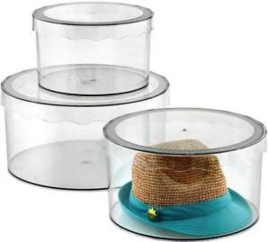InterDesign Clarity Hat Boxes in several sizes. Containerstore.com.