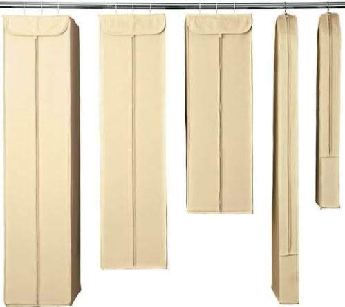 Natural Cotton Garment Storage Bags are available in several shapes and sizes. Containerstore.com.