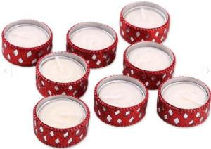 Festive Glamour Red Tealight Candle Set has eight tea light holders adorned with tiny bead and mirror trim for major sparkle in a small package. Novica.com