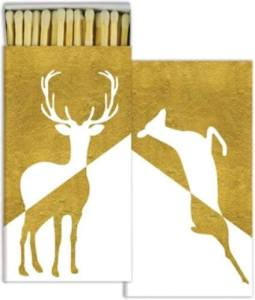A nice box of good quality wood matches really does make it easier and safer to light your candles. It also looks nicer left upon one's mantel or elsewhere than a cheap matchbook from the dollar store. This one is particularly nice not just because it has a gold metallic finish, but it also features both a buck and a doe. Gold Deer Holiday Decorative Matchbox. Museumoutlets.com