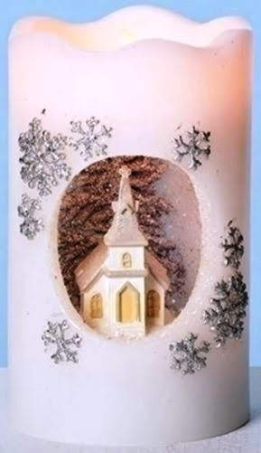 Visit church whenever you want during the Christmas season. This LED battery-operated faux candle features a wonderful vignette of a church on a snowy winter's night. Circling the church is a scattering of silvery snowflakes. The top of the faux candle has a scalloped shape for even more charm. Did I mention the glitter? LED Glittered Church Christmas Pillar Candle. Overstock.com