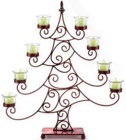 For Grinch, Nightmare Before, or equally whimsical Christmas decor, you can't go wrong with this multi-tiered Red Whimsical Christmas Tree Votive Candle Holder. Overstock.com
