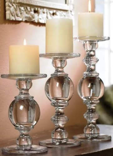 Get a great set for year-round use. Solid Glass Baluster Pillar Candholders in a set of three offer great presence lined up on either side of a mantel or to welcome guests in the foyer. Overstock.com